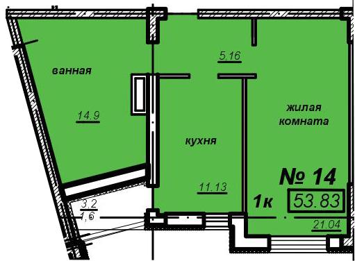 1к квартира – ЖК Мечникова – 19 этаж – 53,83м2