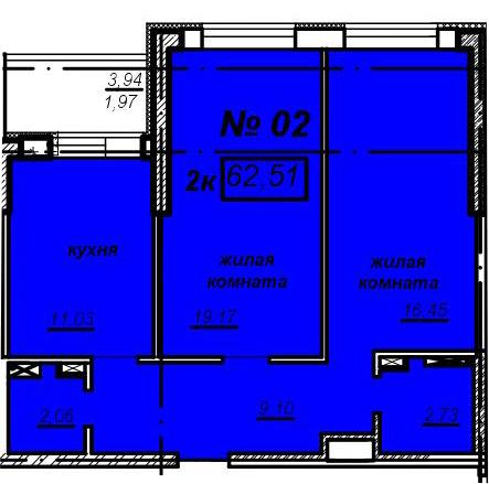 2к квартира – ЖК Мечникова – 11 этаж – 62,51м2