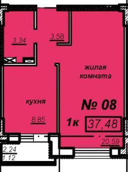 1к квартира – ЖК Мечникова – 19 этаж – 37,48м2